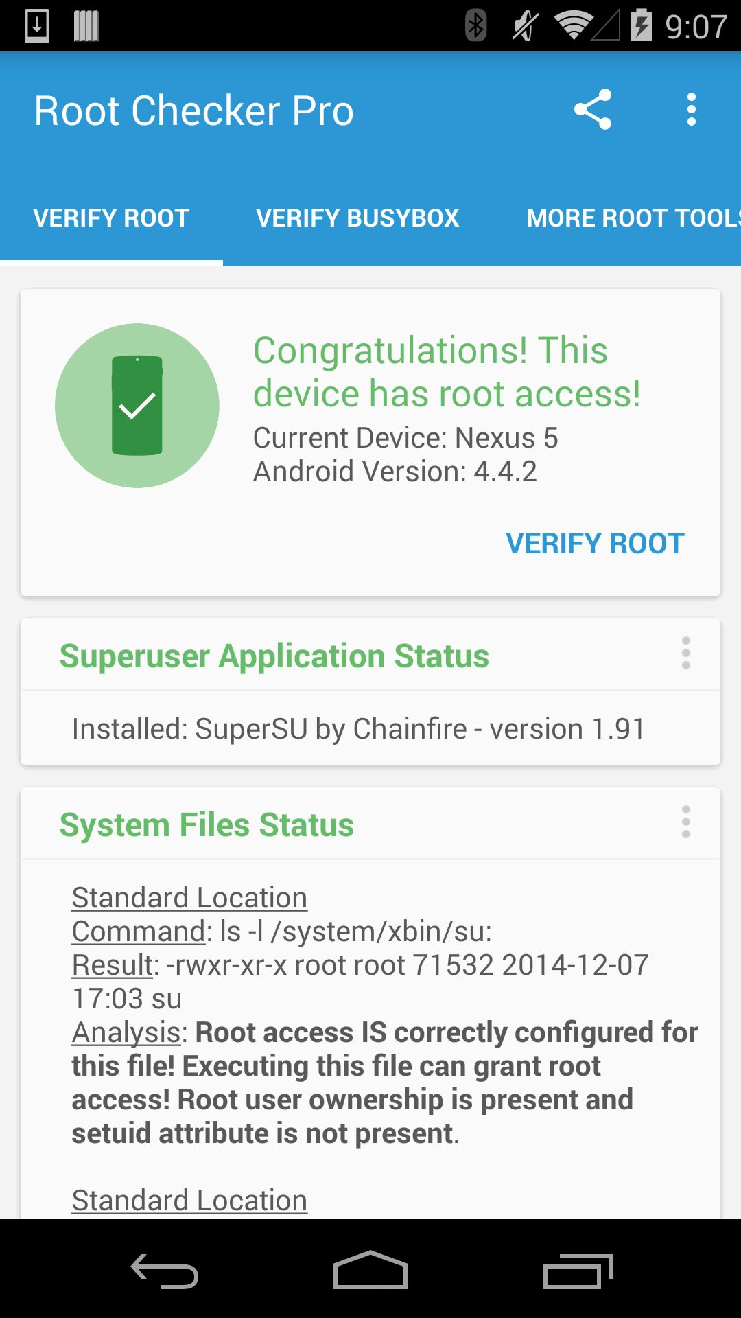 Congratulations! This device has root access
