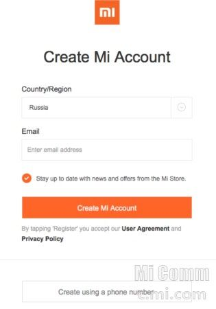 Нажать Create Mi-Account
