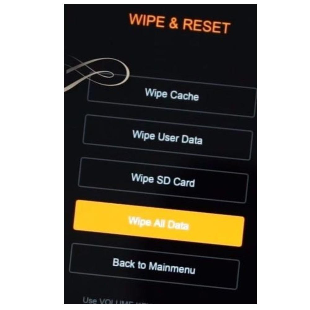 Необходимо найти раздел Wipe Reset, а внутри выбрать параметр Wipe All Data