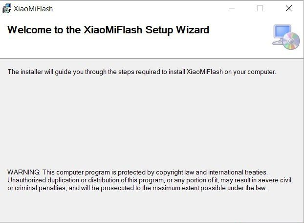 Нужно первоначально скачать программу MiFlash