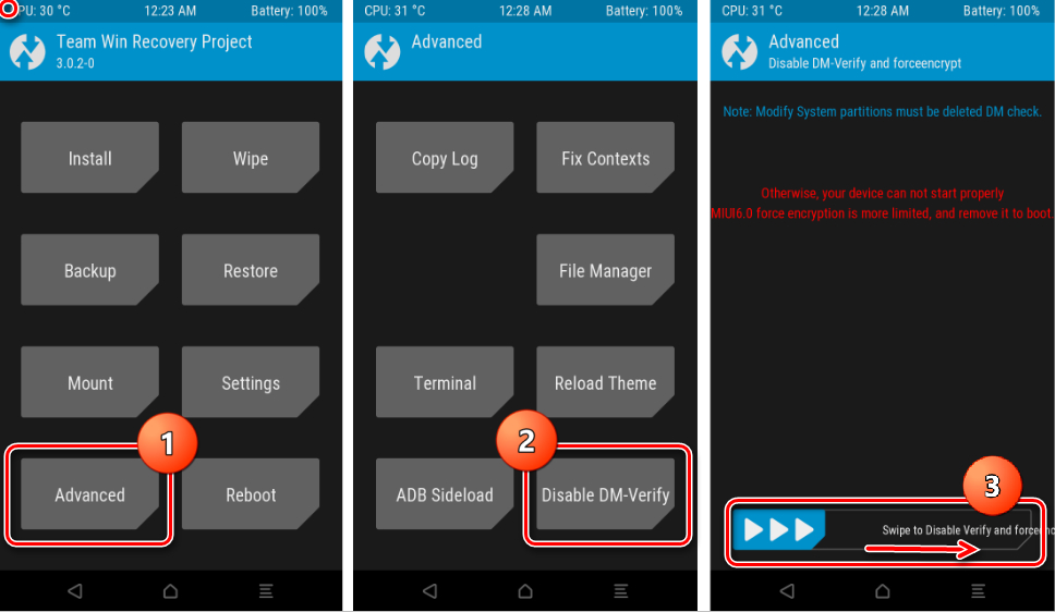 Переход в раздел «Advanced», а затем в раскрывшемся экране нажимаем «Disable DM-Verify».