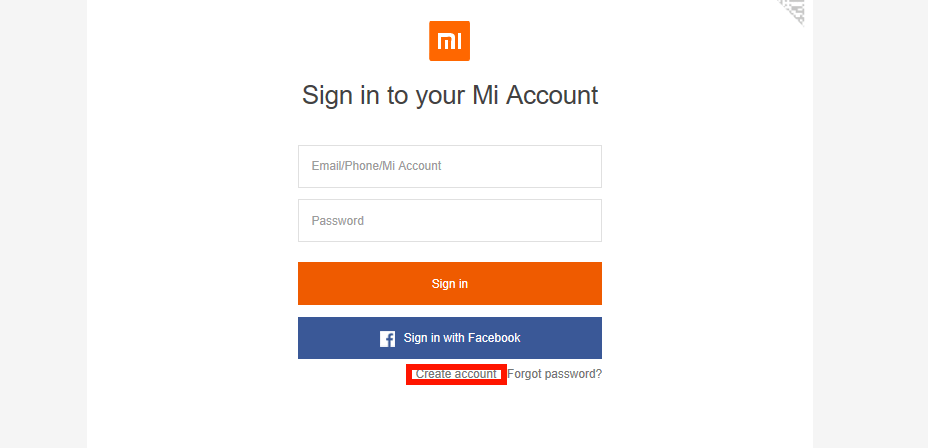 Создание mi account через браузер