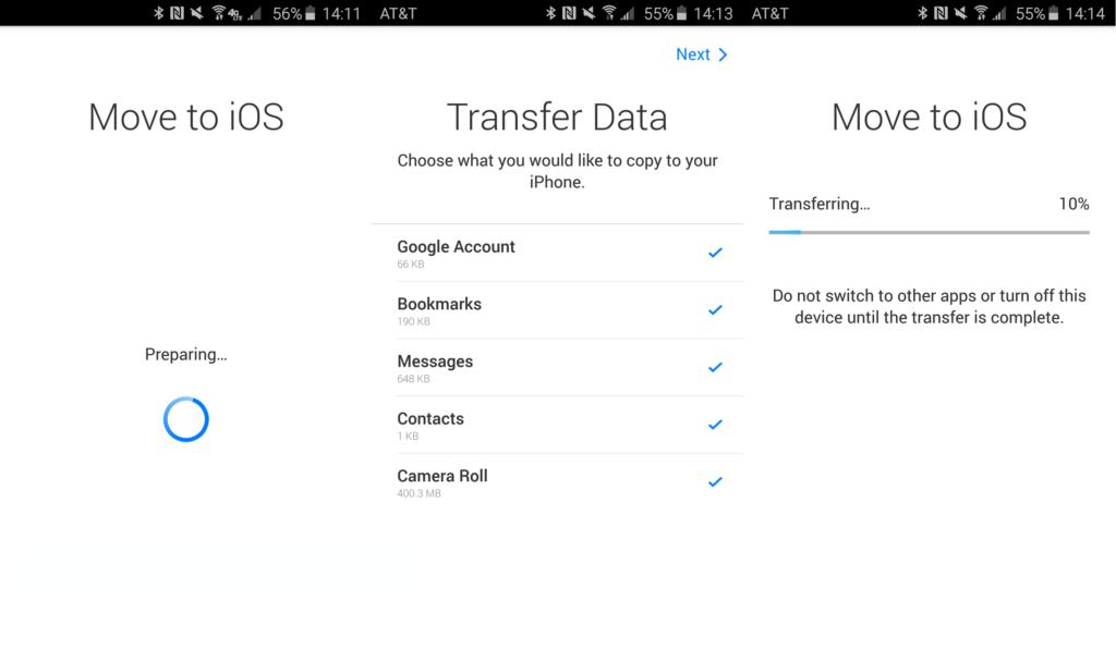 Перенос данный через Move to iOS